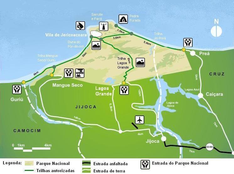 Mapa de Trilhas do Parque Nacional de Jericoacoara