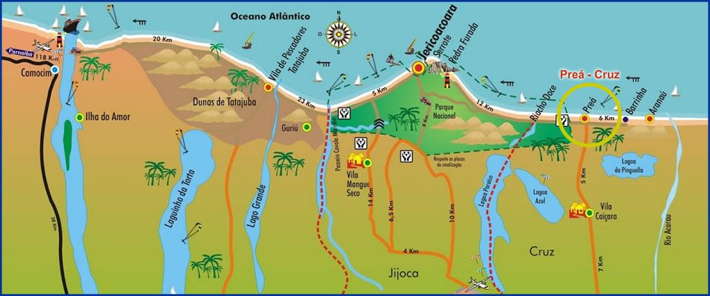 mapa localização da praia do preá